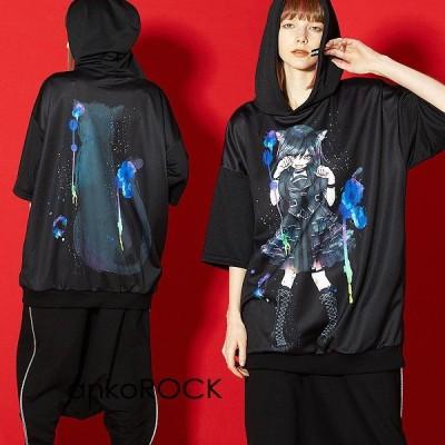 ankoROCK アンコロック ビッグ Tシャツ メンズ カットソー レディース ユニセックス 半袖 ビッグシルエット 黒 女の子 ガール 猫