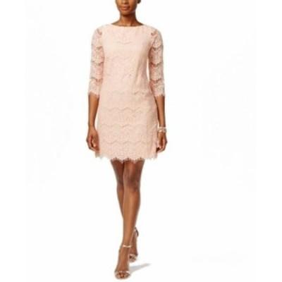 Jessica Howard ジェシカハワード ファッション ドレス Jessica Howard Womens Sheath Dress Pink Size 4P Petite Lace Illusion