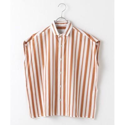 SEASON STYLE LAB/シーズンスタイルラボ フレンチスリーブシャツ beige multi stripe F