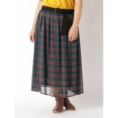 【大きいサイズ】【L-3L】ベルト付上品チェックプリントスカート 大きいサイズ スカート レディース