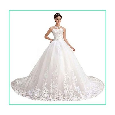 QueenBridal Gorgeous Sweetheart Lace Chapel Train Ball Gown Wedding Dress for Bride (22W,White)並行輸入品