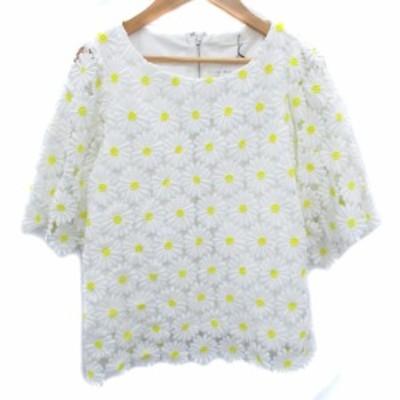 【中古】未使用品 チェリーアン カットソー ブラウス 五分袖 ラウンドネック 刺繍 花柄 F 白 黄色 /FF10 レディース