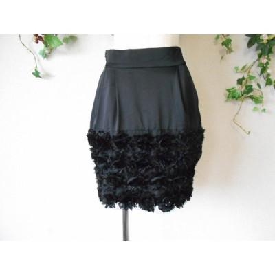 ローズバッド Rose Bud Dressing Up お花 モチーフ の 素敵 な スカート 黒 1