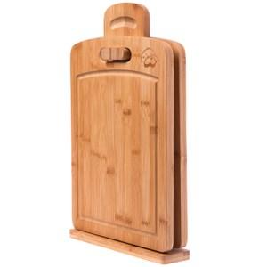 HOLA 吊掛式生熟食竹砧板架 附溝槽竹砧板兩入