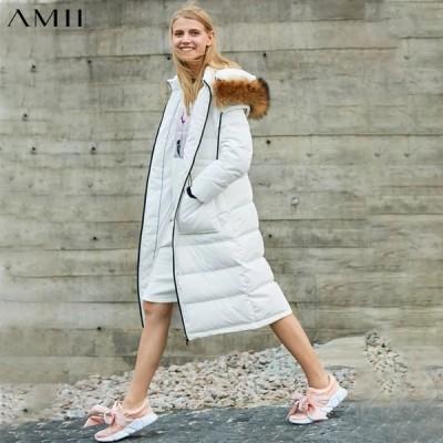 海外輸入アパレル Amii 90%ホワイトダックダウンコートレディースウィンターカジュアルファーカラー厚手のフード付きロングダウンジャケット11860