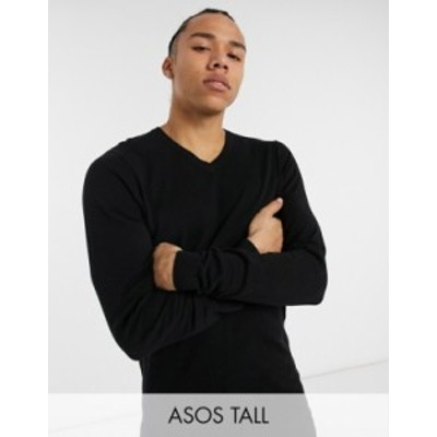 エイソス メンズ ニット・セーター アウター ASOS DESIGN Tall cotton v-neck sweater in black Black
