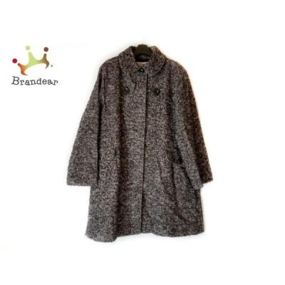 ヒロココシノ HIROKO KOSHINO コート サイズ40 M レディース - 黒×ダークブラウン×白 長袖/冬 新着 20210106