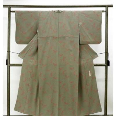 小紋 正絹 辻村寿三郎 ジュサブロー 蝶々模様 身丈152cm 裄丈62cm 小紋 リサイクル 着物
