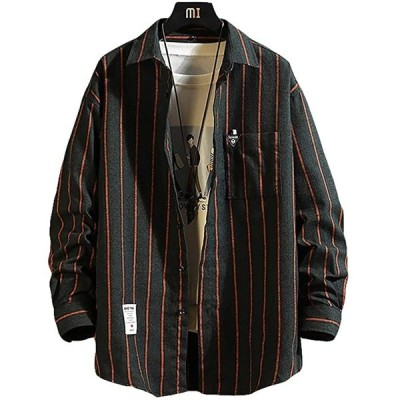 メリュエル 2カラー M〜2XL 春秋 ストライプ シャツジャケット カジュアル ゆったり お洒落 羽織 メンズ オシャレ(チャコール, M)