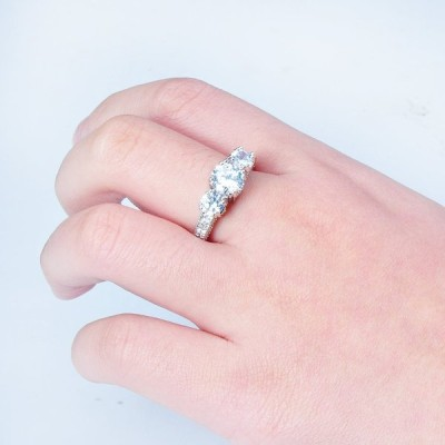 Rongxing Jewelry Promise Silver Ring Crystal Women's White Gold Filled