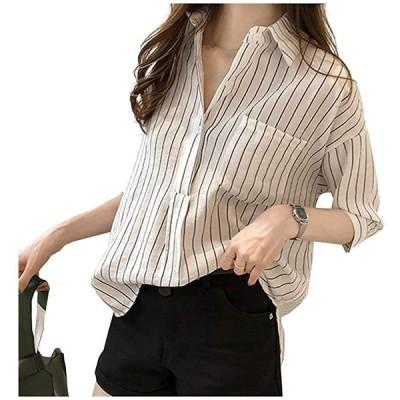 トップス シャツ ストライプ 7部丈 襟 ポケット きれいめ フォーマル スーツ Yシャツ オフィス カジュアル(ホワイト, M)