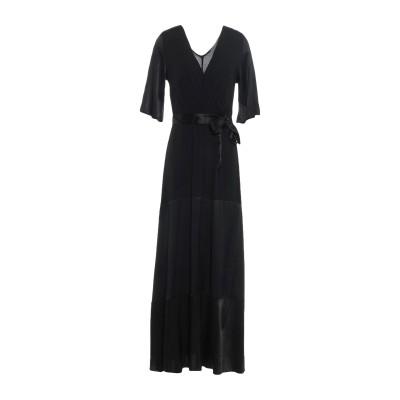 PAOLO CASALINI ロングワンピース&ドレス ブラック S レーヨン 100% ロングワンピース&ドレス