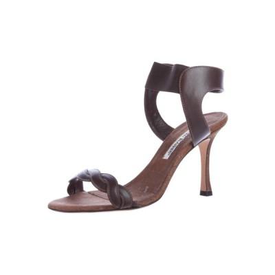 ハイヒール マノロブラニク Manolo Blahnik TREPE Brown Leather CORK Sandals Shoes 36 RARE!