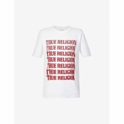トゥルー レリジョン TRUE RELIGION メンズ Tシャツ コットンジャージー コットン トップス Brand-Print Cotton-Jersey T-Shirt OPTIC WH