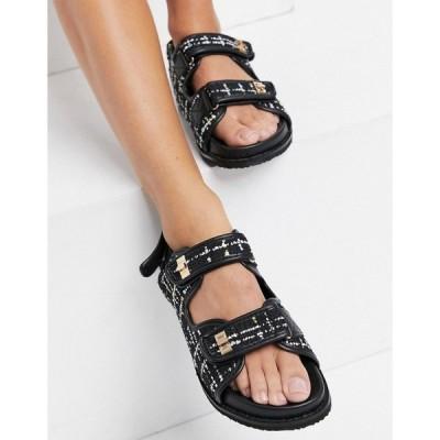 パブリックディザイア Public Desire レディース サンダル・ミュール チャンキーヒール シューズ・靴 Carmen Chunky Grandad Sandals In Black Boucle