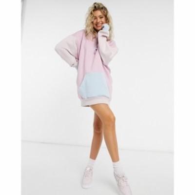ミスガイデッド Missguided レディース ワンピース パーカーワンピース ワンピース・ドレス Colourblock Hoodie Dress With Brand Logo