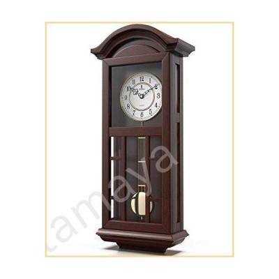 振り子壁掛け時計 電池式 - クォーツ木製振り子時計 - サイレント 大きなダーク木製デザイン 装飾壁時