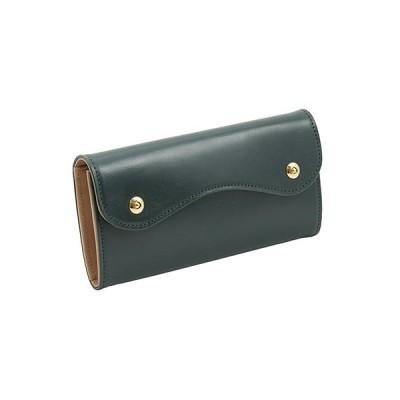 ブライドルレザー Wホック 2つボタン かぶせ型 本革 長財布 (グリーン)