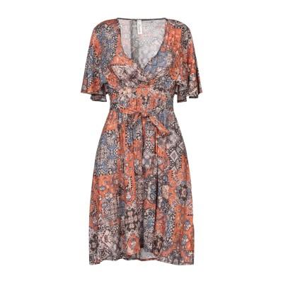 スーベニア SOUVENIR ミニワンピース&ドレス ブラウン S レーヨン 99% / 金属繊維 1% ミニワンピース&ドレス