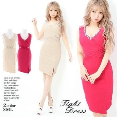 キャバ ドレス キャバドレス ワンピース ナイトドレス 大きいサイズ タイト ミニドレス S M L ピンク ベージュ アシメスカート 透け スリ