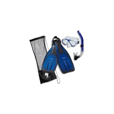 シュノーケリング マリンスポーツ msf64 Genesis Akona Adult Scuba Set Mask Snorkel Fin Package, S