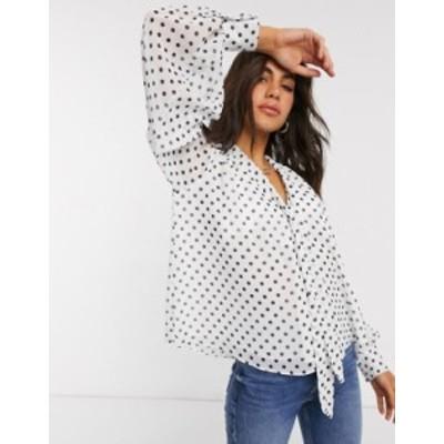 エイソス レディース シャツ トップス ASOS DESIGN sheer blouse with pussybow in polka dot Multi