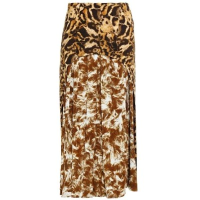 ヴィクトリア ベッカム VICTORIA BECKHAM レディース ひざ丈スカート スカート layered pleated printed crepe midi skirt Light brown