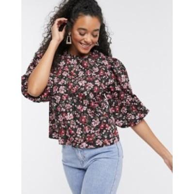 ニュールック レディース シャツ トップス New Look poplin blouse in red floral print Black