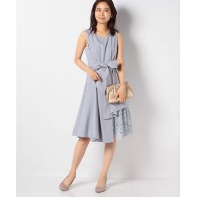 (INTERPLANET/インタープラネット)ウエストタック入り刺繍レース使いドレス/レディース グレイッシュブルー