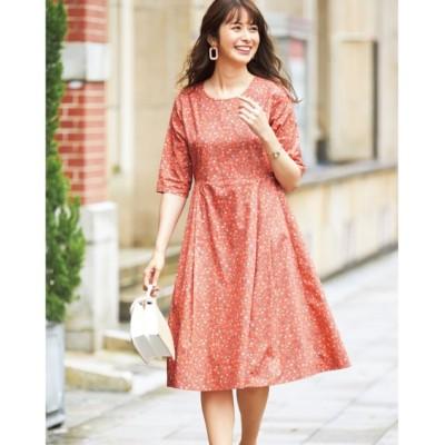 【大きいサイズ】 綿100%5分袖花柄ワンピース(アリスバーリー)(オトナスマイル) ワンピース, plus size dress