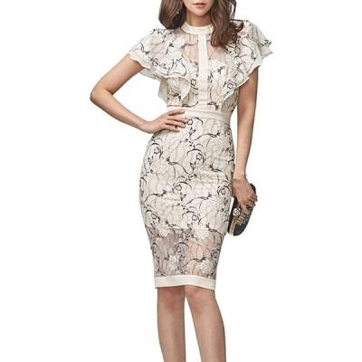 レースタイトドレス 花柄 スリットワンピース 膝丈 フリル袖 シースルー ファスナー付き 結婚式 パーティー(s210528127)
