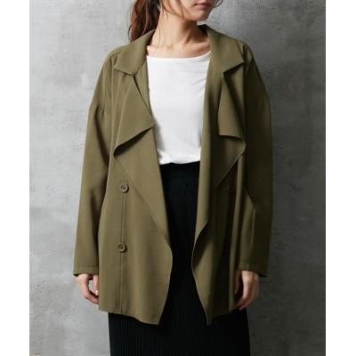 【ゆったりワンサイズ】ゆったりシルエットショート丈トレンチ風コート (コート)(レディース)Coat
