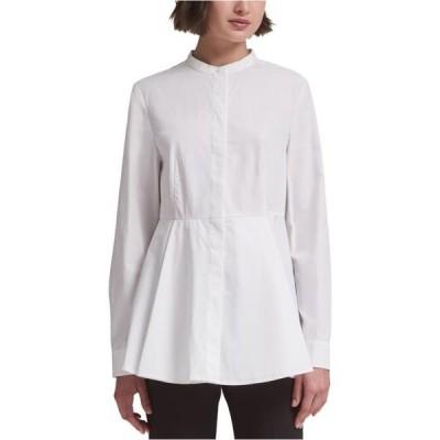 レディース 衣類 トップス DKNY Womens Solid Peplum Blouse White Small ブラウス&シャツ