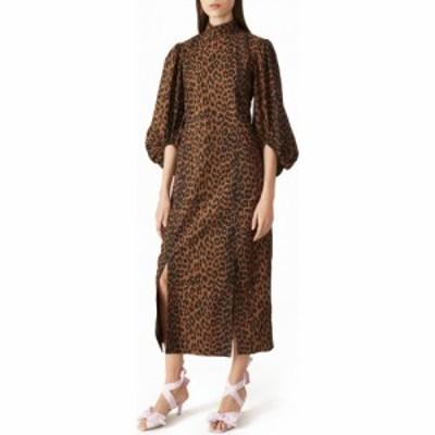 ガニー GANNI レディース ワンピース ワンピース・ドレス Leopard Print Balloon Sleeve Organic Cotton Dress Toffee
