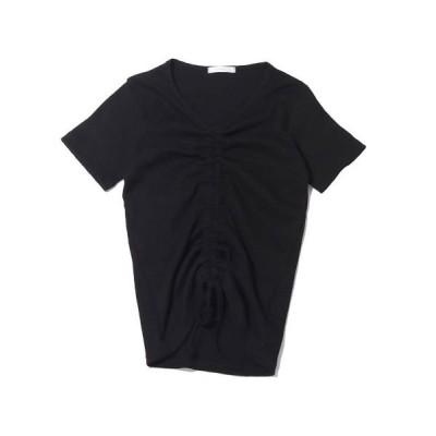 【アトモス】 アトモスピンク マエシボリ リブ ティーシャツ レディース ブラック FREE atmos