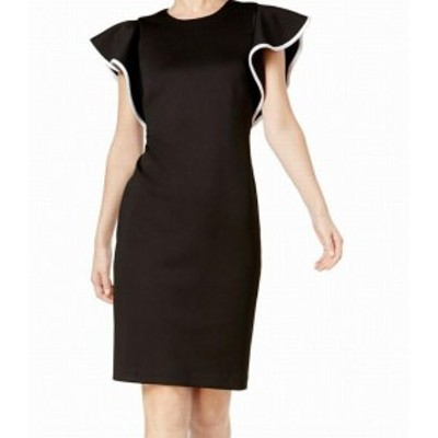 Calvin Klein カルバンクライン ファッション ドレス Calvin Klein Womens Black Size 8 Piped Ruffle Sleeve Sheath Dress