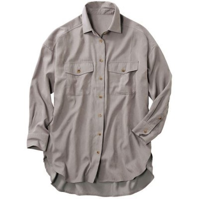 ポケットデザイン ボリュームシャツ(ヴィンテージツイル素材・洗濯機OK)/グレージュ/LL