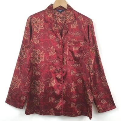 【古着】 Reitomans パジャマシャツ サテン系 ペイズリー柄 ワイン系 レディースL 【中古】 n024657