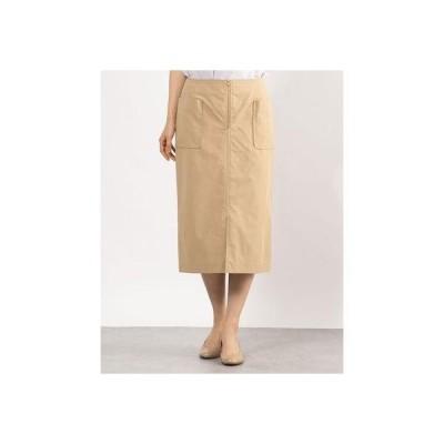 ドゥアルシーヴ DOUX ARCHIVES フロントファスナータイトスカート (BEIGE)