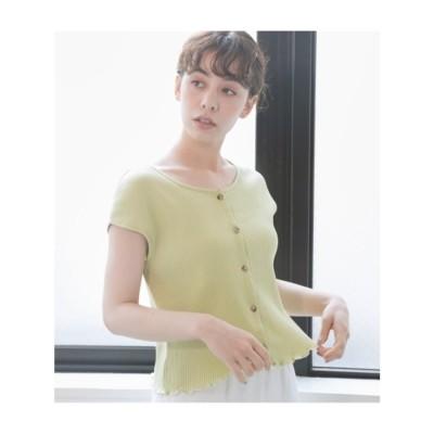 フロントボタン裾メロウトップス (L/YEL1)