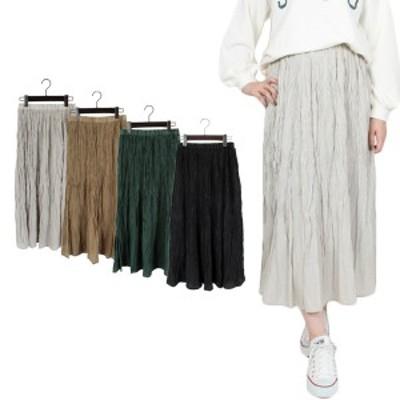 スカート プリーツスカート フレアスカート プリーツ ランダムプリーツ 10分丈 ロングスカート ボトムス レディース SALE セール