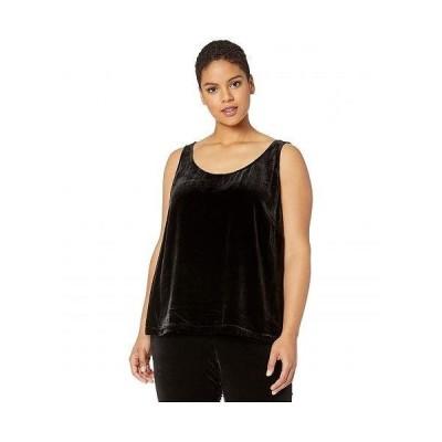 Eileen Fisher アイリーンフィッシャー レディース 女性用 ファッション ブラウス Plus Size Velvet Scoop Neck Tank - Black