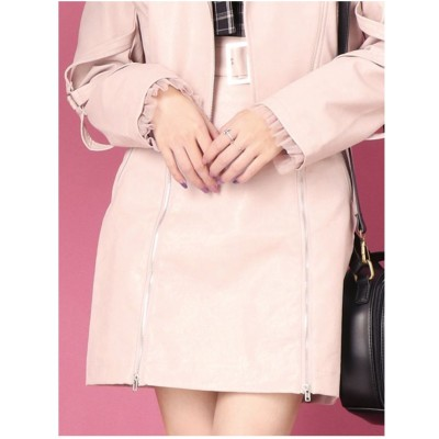 EATME ジップフェイクレザースカート(ピンク)