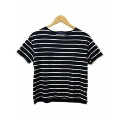 【中古】アーバンリサーチ Tシャツ カットソー ラウンドネック ボーダー スリット 半袖 Free 紺 白
