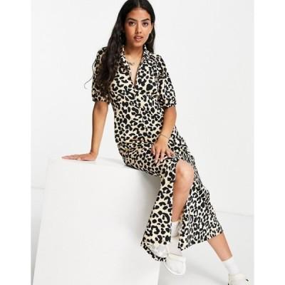 エイソス レディース ワンピース トップス ASOS DESIGN ultimate midi tea dress in leopard print