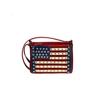 Montana West アメリカンプライド クロスボディ オーガナイザー 財布 USA 星条旗 US サイズ: S カラー: レッド並行輸