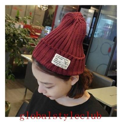 タグ付きリブニット帽帽子ニットキャップビーニーシンプル無地カジュアルアイテム