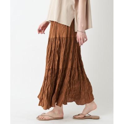 【リラクシーで女性らしい】ランダムプリーツティアードスカート