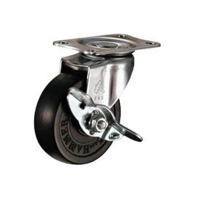 ハンマーキャスター(株) ハンマー Eシリーズ旋回式ゴム車輪 65mm ストッパー付 415E-R65-BAR01 1個