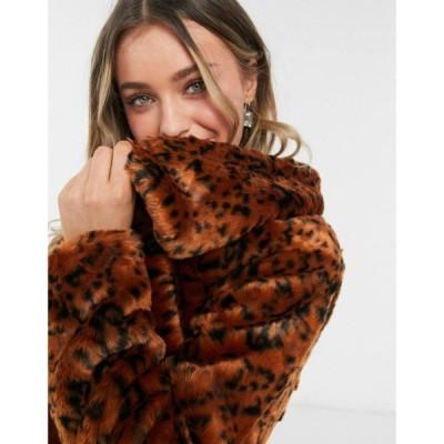 ビービーダコタ BB Dakota レディース コート ファーコート アウター Leopard Faux Fur Coat In Rust ラスティック